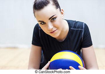 lustig, playe, kaukasier, volleyball