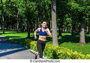 lustig, rennender , spielplatz, pfad, entlang, sport, m�dchen