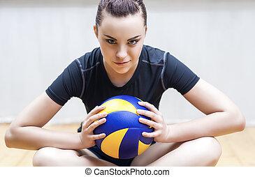 lustig, spieler, volleyball