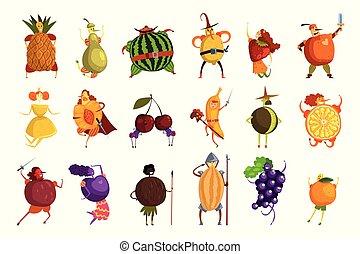 lustige leute, satz, kostüme, fruechte, vektor, charaktere, früchte, illustrationen, karikatur