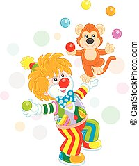 lustiges, affe, clown, spielende