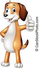 lustiges, aufgabe, hund, daumen, karikatur