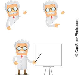 lustiges, aus, feld, wissenschaftler, aussehen, leerer ,...
