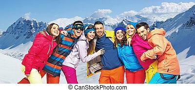 lustiges, bild, snowboarders, junger