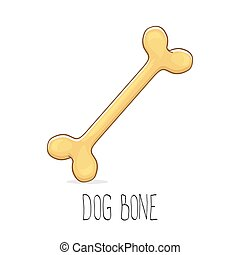 lustiges, brauner, reizend, hund, vektor, karikatur, knochen