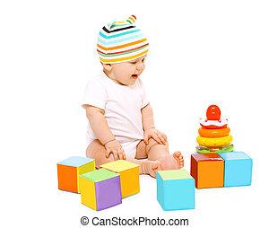 lustiges, bunte, Sitzen, Spielzeuge,  baby, gestreift, Hut, spielende