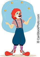 lustiges, clown, jongleur