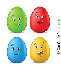 lustiges, eier, farbig, gesichter, ostern, glücklich