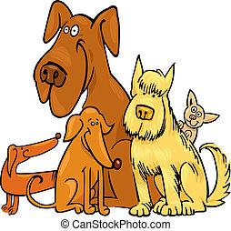 lustiges, fünf, hunden