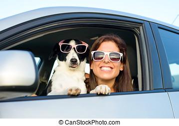 lustiges, frau, mit, hund, auto