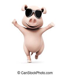 lustiges, geleistet, 3d, abbildung, schwein