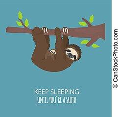 lustiges, geschichte, satz, sloth., family., verschieden, eins, haltungen, sloths, karikatur