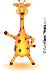 lustiges, giraffe, karikatur