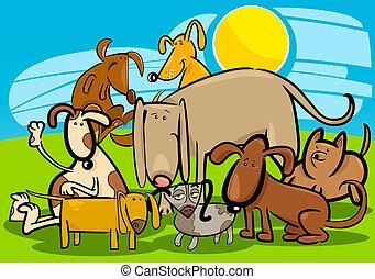 lustiges, gruppe, hunden, karikatur
