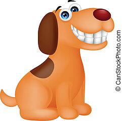 lustiges, hund, karikatur, lächeln