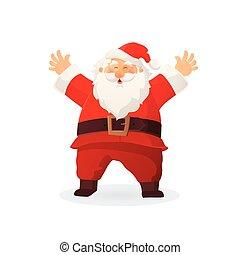 lustiges, illustration., claus, auf, karikatur, besitz, vektor, santa, hände, hut, weihnachten, rotes , gruß