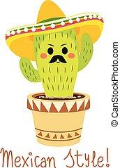 lustiges, kaktus, mexikanisch