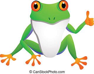 lustiges, karikatur, frosch