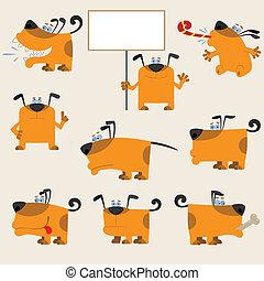 lustiges, karikatur, gelber , hunden