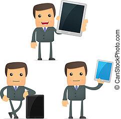 lustiges, karikatur, geschäftsmann, mit, a, laptop