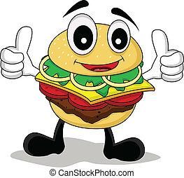 lustiges, karikatur, hamburger