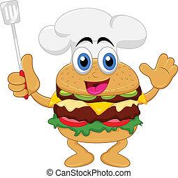 lustiges, karikatur, hamburger, küchenchef, zeichen