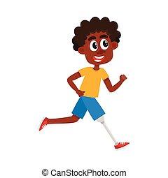 lustiges, karikatur, schwarzer mann, sportler, mit, prothese