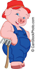 lustiges, karikatur, schwein