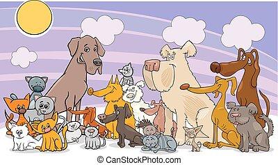 lustiges, katzen, gruppe, hund, karikatur