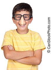 lustiges, kind, mit, brille, und, nase, witz