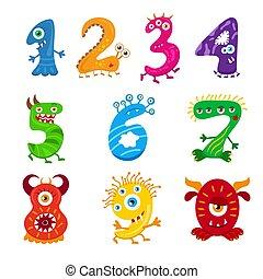 lustiges, kinder, monster, ziffern, set., oder, freigestellt, sammlung, kinder, fantasie, mathematics., zahlen, lernen, karikatur, zählen, monster