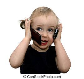 lustiges, kleines mädchen, sprechende , auf, der, zwei, telefone, freigestellt, weiß