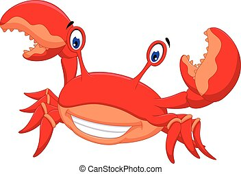 lustiges, krabbe, karikatur, posierend