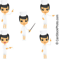 lustiges, krankenschwester, satz, karikatur