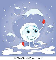 lustiges, kugel, winter, zeichen, schneeball, handschuhe, lachender, karikatur, rotes