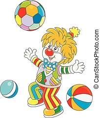 lustiges, kugeln, clown, bunte, spielende