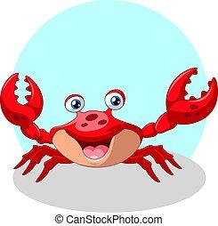 lustiges, lächeln, reizend, krabbe, karikatur