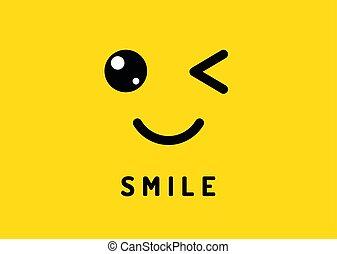 lustiges, lächelt, gesicht, gelächter, freigestellt, gelber...