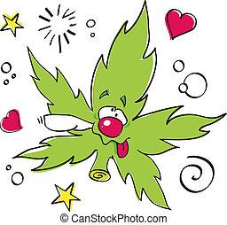 lustiges, lachender, marijuana blatt