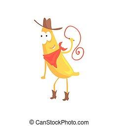 lustiges, lasso, cowboy, fruechte, zeichen, abbildung, banane, traditionelle , amerikanische , vektor, hut, karikatur