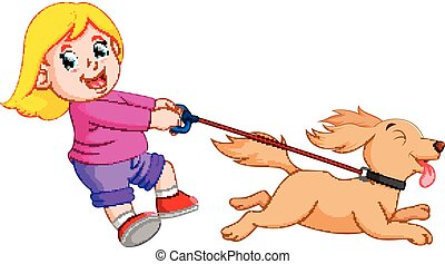 lustiges, laufenden hund, m�dchen, glücklich