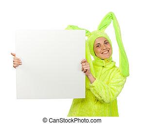 lustiges, m�dchen, in, kaninchen- kostüm, mit, leer, brett