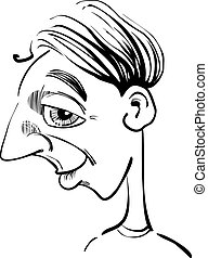 lustiges, mann, karikatur