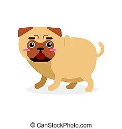 lustiges, mops, zeichen, hund, abbildung, vektor, karikatur