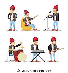 lustiges, musiker, cartoon., mann, spielende , auf, guitar., gestein, singer., vektor, zeichen, abbildung