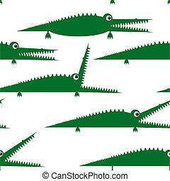 lustiges, muster, seamless, krokodil, design, grün, dein