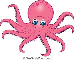 lustiges, oktopus, karikatur