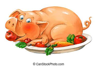lustiges, platte., schwein, lies, pork., tellergericht, ...
