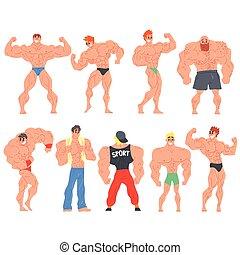 lustiges, satz, bodybuilder, charaktere, muscly
