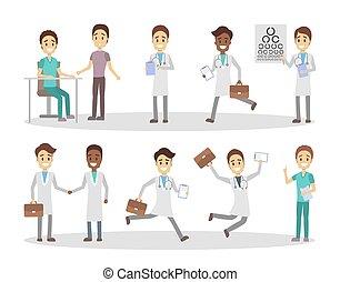 lustiges, satz, charaktere, doktor